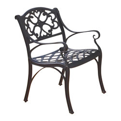 Home Styles - Home Styles Outdoor Dining Arm Chair in Black Finish (Set of 2) - Home Styles - Patio Dining Chairs - 5554802 - The Home Styles Outdoor Dining Arm Chairs are constructed of solid cast aluminum in a hand antiqued powder coat black finish. They feature intricate metal work designs and nylon glides on all the legs. Distinctly traditional in style the Home Styles Outdoor Dining Arm Chairs are sure to fit comfortably in any deck or patio.Includes:
