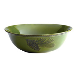 Paula Deen - Paula Deen Signature Dinnerware Southern Pine 10 in. Round Serving Bowl - Green - Shop for Bowls and Candy Dishes from Hayneedle.com! With the Paula Deen Signature Dinnerware Southern Pine 10 in. Round Serving Bowl - Green holiday sides can be showcased in style. This durable embossed stoneware serving bowl features a raised pine cone pattern that adds seasonal spirit to every table. Even better the versatile design of this dinnerware makes it great for serving memorable meals year-round. For your convenience this stoneware is microwave and dishwasher safe as well as oven safe to 250 degrees fahrenheit so it's easy to keep a bowl full of stove-top macaroni and cheese warm until everyone's ready to eat. With a beautiful vintage-inspired raised pattern this serving bowl is sure to make every meal memorable. About Paula DeenSouthern cooking queen Paula Deen is known to millions as a popular TV show cooking host on the Food Network as well as a bestselling author. The Georgia native parlayed a home-based meal delivery service into her successful Lady and Sons restaurant in Savannah Ga. In 2008 Deen partnered with Meyer Corporation to launch a line of signature cookware bakeware kitchen tools and accessories which are used by home cooks everywhere.