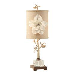 "Crestview - Crestview CVAER458 Magnolia Table Lamp - Magnolia Table Lamp Magnolia Table Lamp 27""Ht.,Metal&Crystal White Wash Iron Finish 9 x 9 x 12 Burlap & Linen Floral Table Lamp 27"""