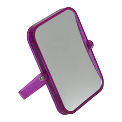 Magnifying Dual-Sided Pivot Mirror Rectangular Shape Purple - This magnifying dual-sided pivoting mirror features a colorful transparent plastic frame. This rectangular shape mirror rotates side to side providing versatile viewing. The 2X magnification side is ideal for makeup application, tweezing or other grooming tasks and the regular side is ideal for all-around hairstyling and cosmetics. Conveniently folds for travel and storage. Dimensions are length of 6.10-Inch, height of 7.48-Inch and diameter of 0.87-Inch. No assembly required. Clean with warm soapy water. Color purple. This magnifying pivoting mirror is perfect for use on any countertop or travels and is an ideal complement to virtually any bathroom decor! Complete your decoration with other products of the same collection. Imported.