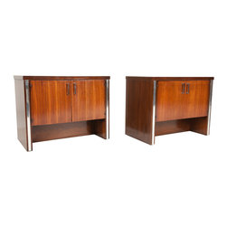 Broyhill Furniture Company - Consigned Mid Century Modern Zebra Wood & Chrome Night Stands by Broyhill - • Mid Century Modern