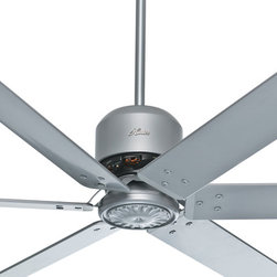 "Hunter - Hunter 96"" Satin Metal Industrial Ceiling Fan - Introducing the 96"" Industrial Ceiling Fan. It is designed to significantly improve air circulation in large spaces like vaulted living rooms, pole barns, and industrial buildings. The large blades do the work - it turns at lower speeds than a standard ceiling fan yet moves much more air (CFM) because of its long 96"" aluminum blade span. With this fan, you get the air circulation you need to regulate room temperature and keep heating costs down without the wind and breeze created by smaller fans. As a special feature, the Industrial Fan can be installed as a 3 blade fan. With that configuration, it turns at 58 RPM and moves 11,899 CFM. The fan is also damp rated for use in covered porches, patios, and sunrooms and uses Dust Armor™ nanotechnology blade coating to repel dust buildup."
