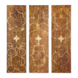 Uttermost - Uttermost Scrolled Panel 70x20 Wall Art I, II, III (Set of 3) - Frameless hand painted panels on hard board with outer edges painted black. Due to the handcrafted nature of this artwork, each piece may have subtle differences.