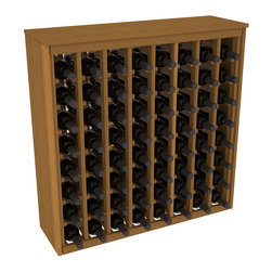 Wine Racks America - 64 Bottle Deluxe Wine Rack in Premium Redwood, Oak Stain - Styled to appear as wine rack furniture, this wooden wine rack will match existing decor while storing 64 bottles of wine. Designed to look like a freestanding wine cabinet, the solid top and sides promote the cool and dark storage area necessary for aging wine properly. Your satisfaction and our racks are guaranteed.