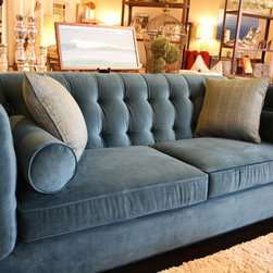 Blue Tufted Sofa - Traditional Condo sized sofa with tufted back, in Peacock color.
