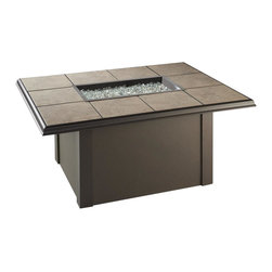 "The Outdoor Greatroom - Napa Valley Rectangular Gas Fire Pit Table With Brown Metal Base - The Napa Valley fire pit table features a classic design and is easily customizable. Choose from a brown metal base with either brown metal side panels or brown wicker side panels, and a gorgeous slate-like porcelain tile top with beautiful swirls of browns, tans and greys; Or from a black metal base with either black metal side panels or black wicker side panels, and an elegant black granite tile top. Either tile top easily comes out in order for you to add your own personal ""tile-touch"" or color. This fire pit able comes with a rectangular 24x12 inch stainless steel Crystal Fire Burner that will truly light up the night and add warmth to your outdoor space. These burners are made from high quality stainless steel and include tempered, tumbled glass, an LP hose and regulator, a metal flex hose, a gas valve, and a push button sparker. With just a push of a button, a beautiful clean-burning fire appears atop a bed of highly reflective Diamond glass fire gems. All burners are shipped with orifices for LP or NG fuels and are UL approved for safety and quality. Adjust the flame height to your desired setting and enjoy the magic and ambience of a warm glowing fire."
