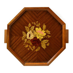 None visible - Consigned Wooden Tea Tray with Floral Marquetry - Impressive octagonal wooden tray with handles, inlaid with multicoloured floral marquetry design in various woods; vintage English, mid 20th century.