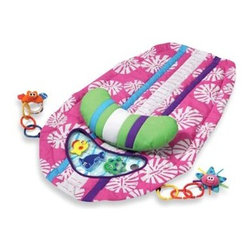 Infantino - Surfboard Tummy Time Mat by Infantino - This surfboard-themed play mat includes a detachable prop-up pillow, linkable plush play pals that can also be attached to other components, and a mini-aquarium with three floating sea creatures.