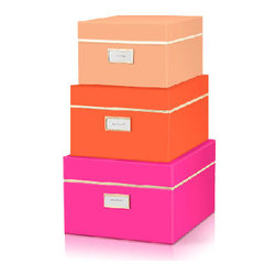 "Kate Spade - Kate Spade Neon Nesting Boxes - Keep yourself fashionably organized with these Kate Spade Neon Nesting Boxes.  This set comes with a fuchsia large size box with a label reading  ""put a lid on it"", a medium size orange box with a ""keep it together"" label and last but not least, a small coral box with the label ""stow away"". Interior of large box is coral, medium box is fuchsia and small box is orange! Your stuff can't live without these.   Large-12 1/2"" X 10 1/4"" X 7"" Medium-11 1/2"" X 9 1/4"" X 6 1/4"" Small-10 1/2"" X 8 1/4"" X 5 1/2"""