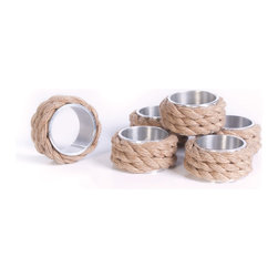 Vintage Chic Home - Coastal Napkin Rings, Set of 6 - Set of Six Coastal Napkin Rings features a fresh design with an unique pattern wrapped with rope for adding more stylish flare to your dining table. Crafted with brass, this set can make a striking addition to your dining area settings without needing any extra efforts for the decoration. This will reflect your sophisticated lifestyle as well.