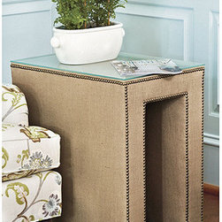 Hayden Upholstered Table - This is an upholstered side table, and it comes in a ton of patterns. I love the studs along the edges.