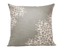 Cricket Radio - Indochine Paradise Floral Pillow, Stone/Tan - Sink into soft, classic style with this pillow hand-printed on pre-shrunk Italian linen. It features a choice of two soft colors, eco-friendly inks and a down insert that can be removed for easy cleaning. At 20 inches square, it's a perfect addition to your bed, bench or sofa.