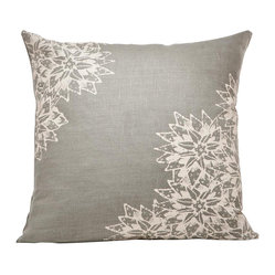 Indochine Paradise Floral Pillow, Stone/Tan