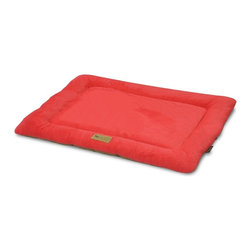 P.L.A.Y. - P.L.A.Y. Chill Pad Vermillion Large - The P.L.A.Y. chill pad is a light and an extremely long lasting pad for your dog to sleep and rest on. The pad can be conveniently thrown at any spot in your home and being filled with an eco-friendly fiber, the pad is very safe for the environment, not to mention your dog. This chill pad is made keeping in mind the highest quality standards and it can be machine washed whenever needed.  Designed to fit most standard pet crates. Tough, durable construction ensures dog-years of use. Filled with the perfect amount and density of high-loft PlanetFill filler.  filler is made from 100% post-consumer certified-safe recycled plastic bottles. 4 edges ensure optimum elevated comfort for your pooch to rest its head on. Machine washable and dryer friendly. Made in a facility that meets the strict quality standards for infant and children products. Momo-approved and tested by her four-legged friends.