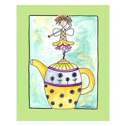 Oh How Cute Kids by Serena Bowman - Purple Flower Teapot Fairy, Ready To Hang Canvas Kid's Wall Decor, 8 X 10 - Coffee, Tea or with me.  Here is one of my Tea Time Girls!  How cute are they!!