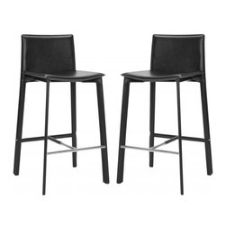 """Safavieh - Janet 30"""" Bar Stool (Set Of 2) - Equal parts good looks and practicality, the 30 in Janet barstool complements kitchens and family rooms designed for comfort and chic contemporary style. With slightly flared legs, stainless steel foot rails and an iron frame completely upholstered in black bonded leather, Janet will deliver years of active family service."""