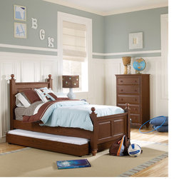 Lang Furniture - Twin Size Four Poster Bed Frame - Timeless, classic design, made kid-tough and available in six engaging colors. Solid silver-finished drawer pulls or matching wood knobs add to the appeal of this new collection.