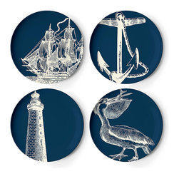 Frontgate - Set of Four Maritime Dinner Plates - Melamine is shatterproof and ideal for outdoor entertaining. Dishwasher safe. Do not use in the microwave, or place on direct heat. Not recommended for use with sharp knives. Our Maritime Melamine Dinnerware by thomaspaul takes casual tableware in a new direction. A fun mix of nautical designs, this durable collection is perfect for an alfresco party, and stylish enough to use indoors as well.. . . .