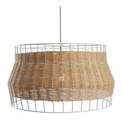 Blu Dot - Blu Dot Laika Large Pendant Light, Natural - White or natural colored rattan is intertwined with a steel framework to create a pleasing hand woven pattern of peekaboo light.  Mounts to ceiling.Powder-coated steel frame and canopy, Paper rattan, Cloth-covered cord, Maximum 150 watt incandescent, one CFL included