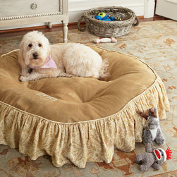 Caroline Skirted Pet Bed - A new cozy bed for your best friend to call his or her own - in a style reflecting your excellent taste. An innovative design: tufted, but washable! Our exclusive Caroline Pet Bed is designed with a unique system of interlocking pillows that provide the luxurious look and feel of a tufted bed-with the ease of washable cover. Treat your cat or dog to a luxuriously soft bed of micro-suede, trimmed in a ruffled toile skirt. Pet Bed can be personalized with an embroidered monogram.
