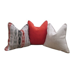 Dry Creek Pillow Trio - Our Dry Creek Trio Set of 3 Pillows are an easy update to any room. Each set is handcrafted from all natural fabrics and include a feather down insert and zipper closure. All of our accent pillow trios are hand-picked by our Cokas Diko designers with quality and style in mind.