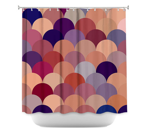 DiaNoche Designs - Shower Curtain Artistic - Tan Scales Pattern - DiaNoche Designs works with artists from around the world to bring unique, artistic products to decorate all aspects of your home.  Our designer Shower Curtains will be the talk of every guest to visit your bathroom!  Our Shower Curtains have Sewn reinforced holes for curtain rings, Shower Curtain Rings Not Included.  Dye Sublimation printing adheres the ink to the material for long life and durability. Machine Wash upon arrival for maximum softness. Made in USA.  Shower Curtain Rings Not Included.