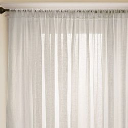 Linen Sheer Drape - A deep, elegant hem makes our Linen Sheer Drape ideal on its own or as a layering piece. 100% sheer linen softly filters the light without obscuring the view outside. Hangs from the pole pocket or converts to ring-top style with drapery hooks. Use with 10 Clip Rings (sold separately).