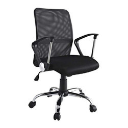 Modway - Pilot Office Chair in Black - Steer your way to a simple yet affordable seating experience. With a mesh screen back and padded seat and fashionably rounded dual-toned arms, save money while gliding your way into work each day. Pilot comes with lumbar support, pneumatic height adjustment, a black nylon base, dual wheel carpet casters and a full 360 degree swivel.