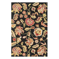 Loloi Rugs - Loloi Rugs Juliana Collection - Black, 3' Round - Breathe casual elegance and flirty fun into any room of your house with the hand-hooked Juliana Collection. Handmade in China of 100-percent polyester, the intricate, high/low texture of these unique rugs is achieved with a mix of petit-point and bolder hooks. Juliana's eye-catching designs feature a selection of transitional florals and stripe patterns that wear a decidedly happy palette. With texture this bold and colors this fun, you will smile every time you walk into your home.