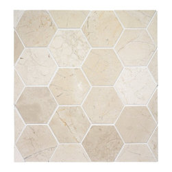 Hexagon Stone Tile - A lovely larger hexagon tile which is great for a bathroom floor, but could also work as a mudroom floor or laundry room floor. Also comes in Carrara marble.