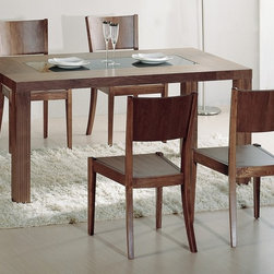 Beverly Hills Furniture - Stark Dining Table - Walnut veneer in natural walnut finish. Black glass top at the center of the table. Solid block legs. Easy assembly. 34 in. W x 60 in. L x 30 in. HThe Stark Dining Table is crafted from carefully selected solids and walnut veneers, and finished in dark walnut color.  The thick block legs provide reassuring support to the thick table top with black glass insert.  The look, feel and finish on this table is impeccable.