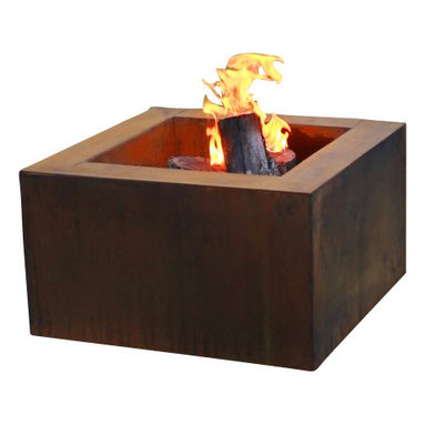 """Home Infatuation - Mini-Square Weathering Steel Fire Pit, Mini Pit for Glass & Lava Rock/Propane Ga - This handcrafted outdoor fire pit is constructed entirely of 11 gauge Cor-Ten steel. Commonly called """"weathering steel"""" it will develop a beautifully brown layer of rust when exposed to the weather."""
