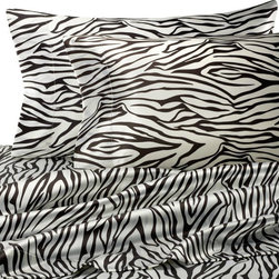 "Hotel Satin Luxury Sheet Set, Zebra - Here's a little satin animal print for those ""special"" nights."