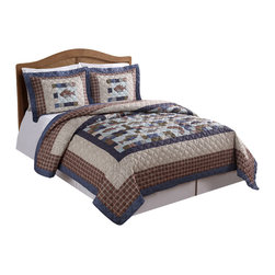 Pem America - Swimming Up Stream Full / Queen Quilt with 2 Shams - Perfect for that cabin or lake house get away, Swimming Up Stream is a lodge inspired quilt with embroidered highlights on a machine stitched printed quilt.  Made of easy care materials this quilt is sure to last and provide many night of comfort as you sleep under printed patchwork and fish designs. Includes 1 full / queen size quilt 86x90 inches and two standard shams 21x27 inches. 100% microfiber printed face and 100% polyester fill. Machine washable.