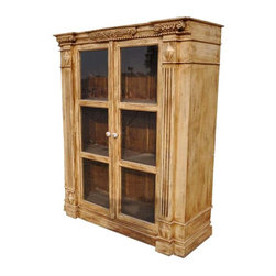 Boston Harmony Solid Wood Hand Carved Bookcase - This classic closed bookcase has three long shelves. The clear glass window frame doors are decorated with intricate carving and painted ceramic knobs. The traditional column design and expert detailed work are individually carved by our skilled craftsmen.