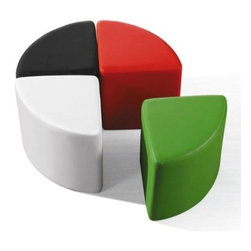 Sushi Ottomans - The Sushi 2 ottomans are covered in a soft leatherette and come in a pie shape.  4 ottomans put together make a complete circle.  The ottomans work great as extra seating or as foot stools.  Can even be used in place of a cocktail table.  Available colors:  Black, Red, White, and Green.  Ottomans are sold separately, not in a set.  Colors can be mixed and matched to create a unique look for your space.