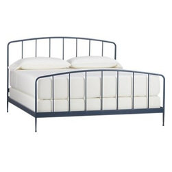 Rory Blue King Bed - Clean, au courant styling updates the Victorian iron bed frame in modern tubular metal, minimally embellished with a gracefully arched headboard and footboard and a beautiful slate blue powdercoat finish. Foot detail on the tapered legs creates a floating effect. Mattresses and foundations available, sold separately.