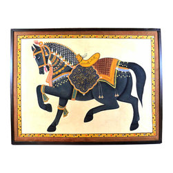 Horse Painting on Cloth I - We love the scale and colors of this vintage horse painting from India. The muted tones of the brown version could grace a formal living room or master suite.
