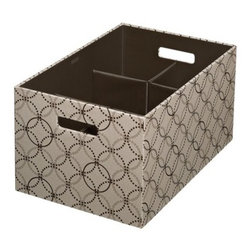 Extra Large Bento Storage Box with Pop-Out Dividers - This extra-large Rubbermaid Bento storage box has not only a sleek, fashionable fabric print, but pop-out flex dividers to help you keep the contents of your bin organized. It's genius.