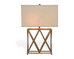 "Kathy Kuo Home - Crossings Contemporary French Gold Open ""X"" Frame Table Lamp - Inspired by a flea market antique, we love the clean lines of the X base of the Crossings Lamp."