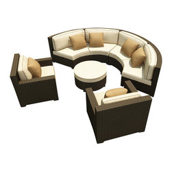 Forever Patio - Hampton Radius 5 Piece Sectional Set, Chocolate Wicker and Beige Cushions - The Forever Patio Hampton Radius 5 Piece Wicker Outdoor Sectional Set with Cream Sunbrella cushions (SKU FP-HAMR-5SEC-CH-AC) creates a stylish outdoor lounge that is sure to enhance the function and look of any patio area. The set seats 6 to 7 adults comfortably, and features Chocolate resin wicker, which is made from High-Density Polyethylene (HDPE) for outdoor use. Each strand of this outdoor wicker is infused with the rich color and UV-inhibitors that prevent cracking, chipping and fading ordinarily caused by sunlight, surpassing the quality of natural rattan. Each piece features thick-gauged, powder-coated aluminum frames that make this modern round sofa set extremely durable. Also included with the set are fade- and mildew-resistant Sunbrella cushions. These plush cushions and generously sized seats create a curved patio sofa that rivals the comfort of an indoor sectional.