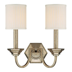 Capital Lighting - Capital Lighting Fifth Avenue Traditional Wall Sconce X-484-GW7891 - You don't have to live in an upscale neighborhood to decorate with this Capital Lighting Fifth Avenue Traditional Wall Sconce. It's a simple yet elegant piece with a hexagonal backplate and two gently curved arms in a winter gold finish that support two box pleated, stay-straight shades. This visually pleasing light fixture is sure to effortlessly add a touch of sophistication to any room.