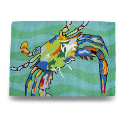 Zeckos - Brightly Colored Blue Crab 36 x 24 In. Hooked Throw Rug - Add a bright splash of color to any room with this wonderful blue crab hooked throw rug. This 24 inch wide, 36 inch long acrylic and polyester hooked accent rug has been backed with a cotton/latex blend and is machine washable in cold water on gentle cycle and then line dry, and would look amazing in bathrooms, living rooms, bedrooms or anywhere you want to add some ocean imagery, sure to be admired by all