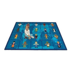 Joy Carpets Reach Across the World Kids Area Rug - Introduce kids to culture and unity with this bright and cheerful Reach Across the World Carpet. Children from around the world are dressed in fun native costumes sparking imagination and encouraging dialogue about those who are different.Sizes available5 feet 4 inches x 7 feet 8 inches (rectangular)7 feet 8 inches x 10 feet 9 inches (rectangular)10 feet 9 inches x 13 feet 2 inches (rectangular)This carpet features SoftFlex backing which is an air-texturized polypropylene secondary backing that's designed to withstand the most demanding situations. SoftFlex is woven tightly yet is still extremely flexible which helps eliminate wrinkles and provide superior protection and insulation underfoot.JoyTuff carpets are Stainmaster-protected and ideal for home or office use. They are constructed from Stainmaster BCF Type 6 6 two-ply nylon and feature advanced protection against stain and soil as well as Impervion mold and mildew protection. This carpet is bound and serged for maximum durability and features a SoftFlex back plus a Class I Flammability rating. To maintain simply vacuum regularly and use hot water extraction cleaning as required.This carpet includes the following warranties:Lifetime limited wear warrantyLifetime limited antimicrobial protectionLifetime limited static protection10-year limited dual technology soil and stain protectionDedicated to Environmental StewardshipJoy Carpets understands the importance of environmental stewardship and its relationship to a successful business. We are committed to operating our facilities in an environmentally sustainable manner and in a manner that protects the health and safety of our associates and the public.Our environmental commitment is driven by a holistic approach to sustainable operations not simply focusing on recycling alone. Joy Carpets reaches beyond recycling in an effort to reduce our company's environmental footprint. Our vision and progress to achieving the goal of full sustainability focuses on the following:Environmentally friendly productsReview of our products' supply chainExtending product life cycleUse of recycled packagingReducing waste to landfillReducing energy consumption and water usageUse of alternative energy sources'No carpet to landfill' commitmentRecycling carpet into new productsDonating carpet for charitable re-useAdditionally Joy Carpets is committed to establishing a strong foundation of environmental values with our families associates and communities to ensure the long-term conservation of our earth's natural resources.About Joy CarpetsJoy Carpets is the leader in specialty broadloom modular carpet Carpets and mats in creative and eye-catching designs. Joy takes pride in providing first-rate floor coverings for residential educational hospitality healthcare and commercial markets. The pioneer of fine gauge tufting Joy Carpets introduced the first recreational carpeting to the industry in 1973 and since that time has been known for their commitment to cutting edge technology and design. Joy Carpets are proudly made in the United States and sold worldwide. Choose Joy Carpets for superior service and unique fun products that enhance your decor and give you fantastic flooring in an instant.