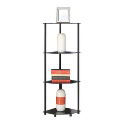 Convenience Concepts - Convenience Concepts Shelve X-B500751 - Designs2Go&trade: Classic Glass 4 Tier Corner Shelf is the perfect complement to any living room d&#233:cor. Featuring an open modern design that provides 3 spacious glass shelves for decoration, collections or art objects. Surely will provide years of enjoyment