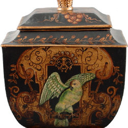 Oriental Danny - Hand-Painted Toile Box - This boldly painted box can be an elegant storage solution for your home. Featuring a majestic eagle on the front and ornately carved handle and feet, the aluminum tin is anything but ordinary.