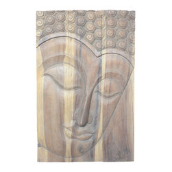 Kammika - Serene Buddha Panel, Sustainable Monkey Pod Wood - This beautiful Buddha Panel Serene 24 inch length x 36 inch height x approximately 5 inch thickness, including the approximately 3 inch protruding nose, Sustainable Monkey Pod wood in Eco Friendly, Natural Livos Agate Grey Oil Finish Wall Panel presents a Buddha peaceful countenance gazing down from the magnificent, stately resource of wood. Discover the calming, inspiring effect of Buddha in the Serene stage when you display this wall panel which has been carved from joining panels. Our wall panels are exquisite expressions of beauty that could become the centerpiece of any room they grace. Each of the panels has two embedded flush mount Keyhole hangers for a protruding screw from your wall. Carved in Thailand, these are made of wood grown specifically for the woodcarving industry. Livos Agate Grey oil is translucent, so the wood grain detail is highlighted. Polished a matte water resistant and food safe finish, the oil makes the wood turn to an antique white look with a light grey patina finish. The light portions turn to shades of beige, and the dark lighten to shades of brown with a light transparent grey top coat over the white antique looking undercoat. There is no oily feel, and cannot bleed into carpets. We make minimal use of electric hand sanders in the finishing process. All products are dried in solar or propane kilns. No chemicals are used in the process, ever. After each piece is carved, dried, sanded, and hand rubbed with Livos Agate Grey oil, they are packaged with cartons from recycled cardboard with no plastic or other fillers. The color and grain of your piece of Nature will be unique, and may include small checks or cracks that occur when the wood is dried. Sizes are approximate. Products could have visible marks from tools used, patches from small repairs, knot holes, natural inclusions or holes. There may be various separations or cracks on your piece when it arrives. There may be some slight variation in size, color, texture, and finish color.Only listed product included.