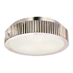 "Sonneman - Paramount 4629 - Flush-Mount Ceiling Lamp | Sonneman - Sonneman Lighting Paramount 4629 surface mount ceiling lamp features polished nickel finish. �_ Paramount 16"" Surface Mount has a luxurious, restrained opulence of layered complexity that defines an era of modern deco and the glamorous presence of polished nickel, creating a glow and bold textural design that bring grandeur to your modern home or architected inspired space. Featured in polished nickel and a metal shade with a white glass diffuser. Manufacturer: SonnemanSize: 16.5 in. diameter x 3.25 in. height Light Source: (3) 60 watt A19 Medium Base - not included Location:�_Dry Certification: ETL, UL"
