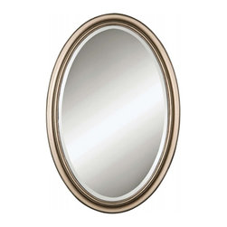 Uttermost - Petite Manhattan Champagne Silver Leaf Oval Mirror - Delicate oval frame features a hand-laid silver leaf finish. Perfect for today's bathrooms and foyers.