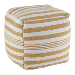 """Rizzy Home - Contemporary Yellow/White Pouf (20""""x20""""x20"""") - Add a contemporary statement to any space with this versatile pouf. It can be used as a extra seat, a footrest or a fun accent piece."""